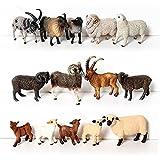 Simulation jouet pour enfant, Ferme réaliste animal chèvre himalayan mouton mouton noire moutons mérinos modèle éducatif enseignement jouet Pour les cadeaux de jouets pour enfants