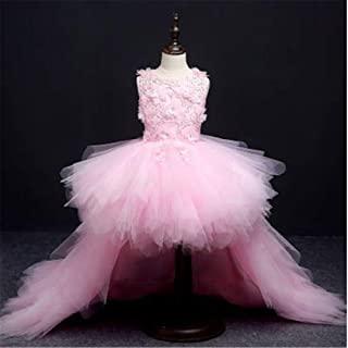 YLQ クリスマスのギフトの王女の服のための女の子の袖なしの花のチュチュの休日の王女の服 (色 : ピンク, サイズ : 110)