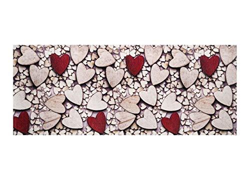 HomeLife Tappeto Cucina Antiscivolo Lavabile in Stile Shabby Chic 58X280 Made in Italy | Passatoia Corridoio Moderna in Ciniglia con Disegno Cuori di Legno | Tappeto Runner Lungo Colorato [58X280]