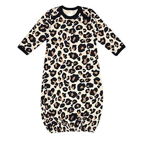 Laughing Giraffe Unisex Long Sleeve Cotton Baby Gown (Tan Leopard),0 - 3 Months