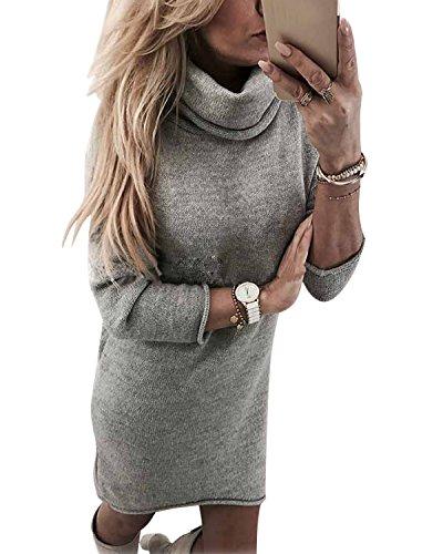 Minetom Damen Strickkleid Feinstrick-Kleid im Oversized-Look mit Rundhals-Ausschnitt aus hochwertiger Materialqualität Grau DE 36