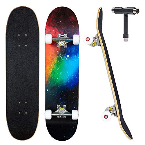 """JECOLOS Pro Skateboard Complete 7 Layers Deck 31""""x8"""" Skate Board Maple Wood Longboards for Adults Teens Youths Beginners Girls Boys Kids (Nebulae)"""