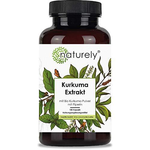 naturely® Kurkuma Extrakt - 180 Kapseln - Hochdosiert mit 95% Extrakt und Bio Kurkuma Pulver - mit Curcumin & Piperin, laborgeprüft, hergestellt in DE