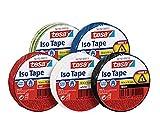 Tesa Isolierband 10m x 15mm Iso Tape (5er Pack / 5 Farben - Blau, Rot, Schwarz, Grün/Gelb & Weiß)