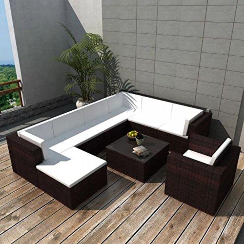 lingjiushopping Ensemble canapés de jardin 27 pièces en polyrotin modulaire marron Couleur du coussin : Blanc Ensemble de meubles d'extérieur