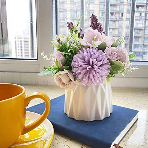 Magicwolf Artificial Flower with Small Ceramic Vase Set Rose Hydrangea Bouquet Fake Flowers Arrangements Decorations for Wedding Office Table Home Party(Purple) Silk Flower Arrangements