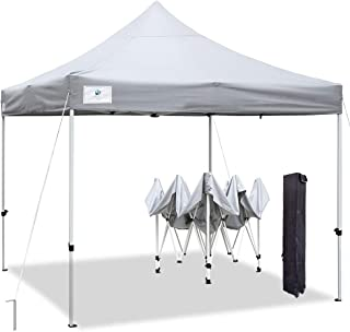 ALLINBOOST 10x10 Pop Up Outdoor Canopy Tent, Beach Canopy Sun Shelter, Commercial Instant Grill Gazebo with Wheeled Carry Bag for Food Vendors, Farmers Market and Backyard Events (Grey)