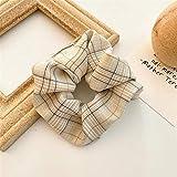 ROTAKUMA Plaid Scrunchie Bandas De Goma Elástica del Pelo para Las Mujeres Headwear Ponytail Accesorios para El Cabello (Color : White)