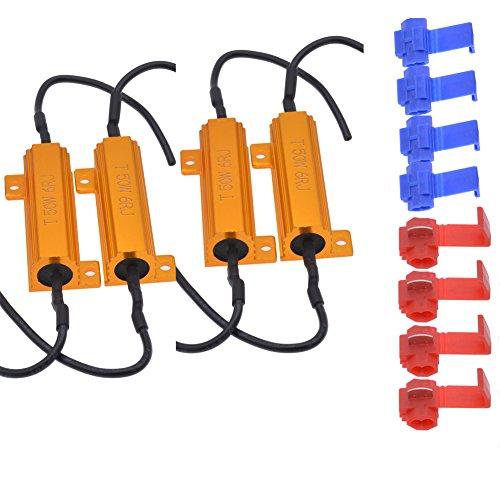 KaTur Resistencias de carga LED 4pcs 50W 8ohm para luces LED de señal de giro o luces LED de matrícula o DRL (Fix Hyper Flash, Warning Cancellor) con 8pcs Quick Wire Clip