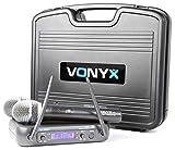 Vonyx WM73C Sistema de Radio Inalámbrico de 2 Canales UHF (2 micrófonos de mano, receptor dual, 2x salidas simétricas XLR, incluye caja robusta)