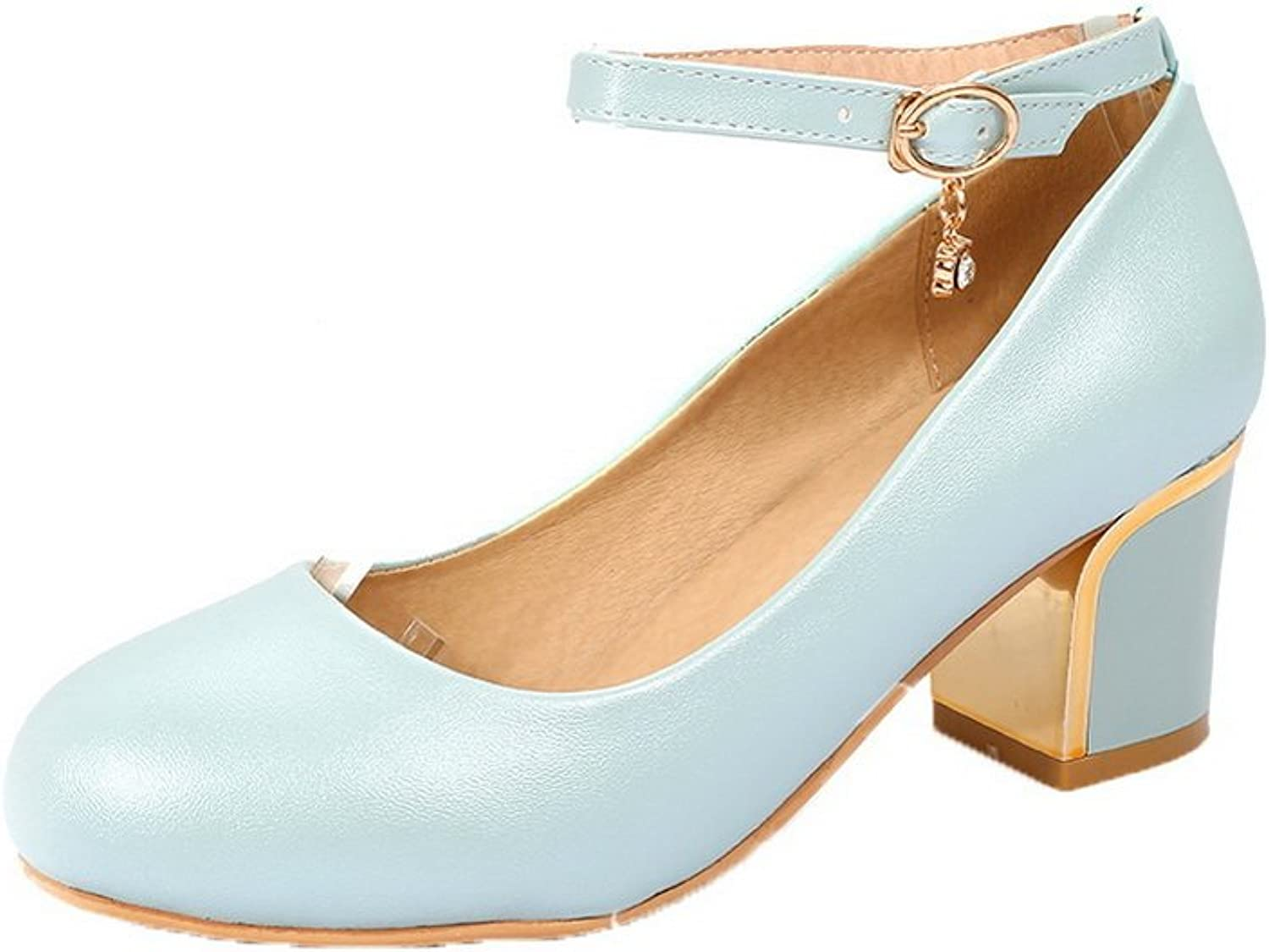 AllhqFashion Women's Solid PU Kitten-Heels Buckle Closed-Toe Pumps-shoes