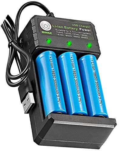 TELSA - 3 Bay USB Charging port with 3 FREE 18650 Batteries - Three Bay Multi battery charger...