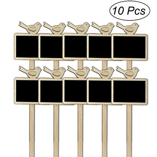 ULTNICE 10 PCS Mini Tableau Ardoise Ardoise Signes Jardin Fleurs et Plantes Tags Maison Décorations Oiseau Conception
