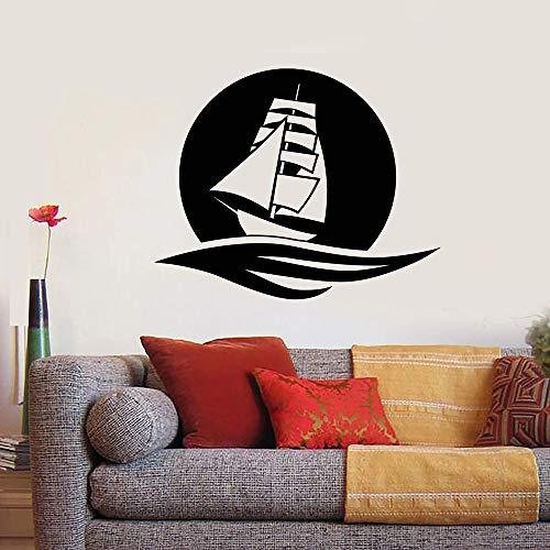 Geiqianjiumai Sea Wave Ship Moon Wall Sticker Ocean Ocean Vinyl Room Wall Decal Mural Art 34X42CM