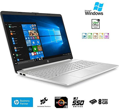 HP Laptop Laptop Ryzen 5 3500U, 15.6' Full HD LED Display, Ryzen 5 up to 3.70Ghz, 8GB RAM ddr4, Ssd 500GB,Windows 10 Professional