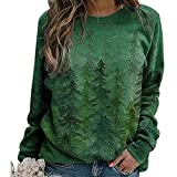 Aiqing Sudadera de montaña para Mujer, Sudadera con Estampado de Paisaje de Manga Larga Vintage, Blusa Informal, suéter, Camisas, Tops