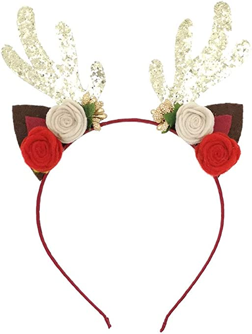 Mwfus Reindeer Antlers with Flowers Headband Adult Kids Christmas Hair Band Festival Party Cosplay Costume Headwear Xmas Gift