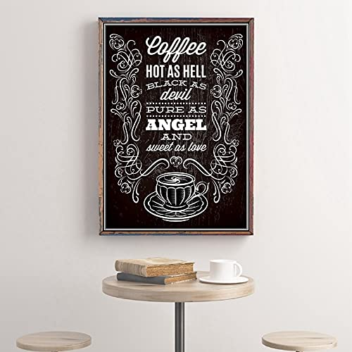 Coffee Quote Print Blackboard Style Cafe Shop Wall Art Picture Decor Retro Poster Coffee Cup Art Canvas Painting Wall Decoration 40x60 CM (sin marco)