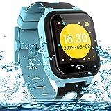Vannico Smartwatch Niños,Reloj Niños Inteligente GPS 2G GPS/LBS Compatibles Micro Simyo Tarjeta Android iOS (Azul)