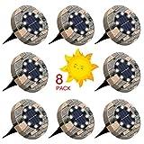 GLIME Solarleuchten für Außen, 8 LEDs Solar Bodenleuchte Gartenleuchte, IP65 Wasserdicht...