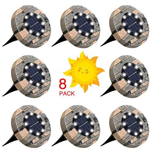 GLIME Solarleuchten für Außen, 8 LEDs Solar Bodenleuchte Gartenleuchte, IP65 Wasserdicht Solarlampe Garten Licht Deko für Rasen Auffahrt Gehweg Patio Garden, Kaltweiß 8er Set…
