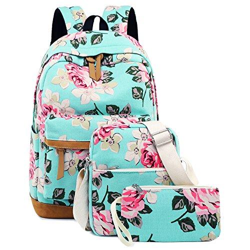 School Backpacks for Teen Girls Lightweight Canvas Backpack Bookbags Set (Light Green- Flower)