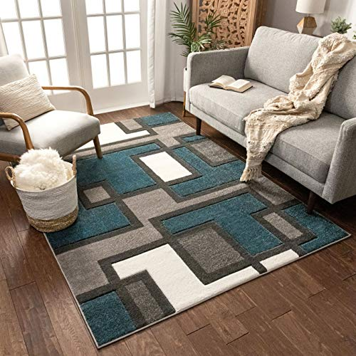 Uptown Squares Ivory & Brown Modern Geometric Comfy Casual Hand Carved Area Rug 8x10 8x11 (7'10' x 9'10') Easy Clean Stain Resistant Abstract Boxes Contemporary Thick Soft Plush Living Dining Room