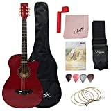 Henrix 38 Acoustic Guitar (Red) with Die-cast Tuners and Dual-action Truss Rod - Includes Picks,...
