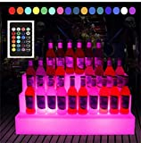 MBYGXX LED Porta Bottiglie da Vino Espositore per Bottiglie RGB a 3 Livelli LED,Luminoso Portavini Mensola del liquore per Birra, Vino Rosso, Sidro e Altro Bar per Feste KTV, 65 * 30 * 30 cm