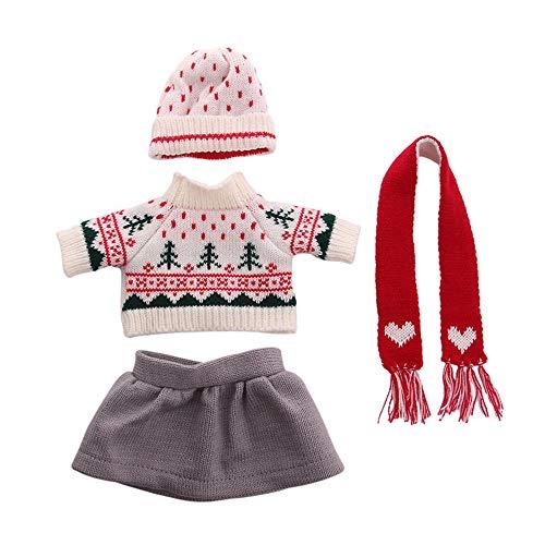 Uteruik Puppenkleidung für 46 cm American Girl Puppe Winter Casual Outfits – Pullover, Rock, Mütze und Schal Kostüm-Zubehör Style-a