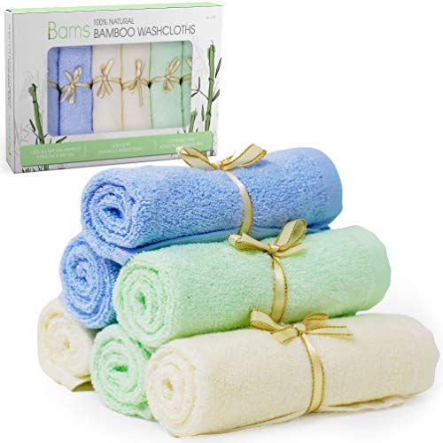 BAMS Luxury 100% Bamboo Baby Washcloths- 2X Thicker Extra Soft Face Wash Cloth Wipes Towels for Babies, Newborn, Infant, Adults with Sensitive Skin, Free Laundry Bag (Cream, Baby Blue, Baby Green)