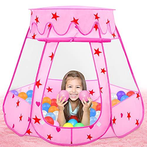 Fivejoy Tenda Principessa Per Bambina, Rosa Castello Principesse Per Ragazze Con Tettuccio Apribile Mobile- Installazione Automatica Casetta Tenda Per Bambini , Portatile Castello Principesse