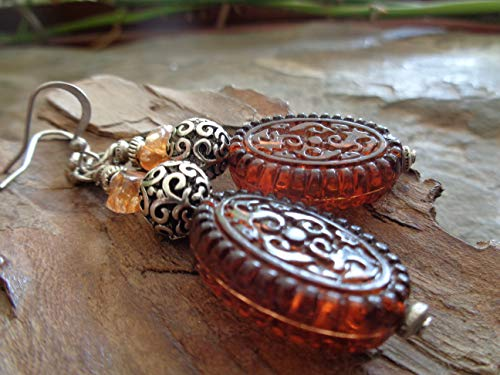 ★ PENDIENTES ÚNICOS EN COLORES AMBAR ★ Pendientes tribales Ethno Boho con acrílico, piedra natural y plata tibetana