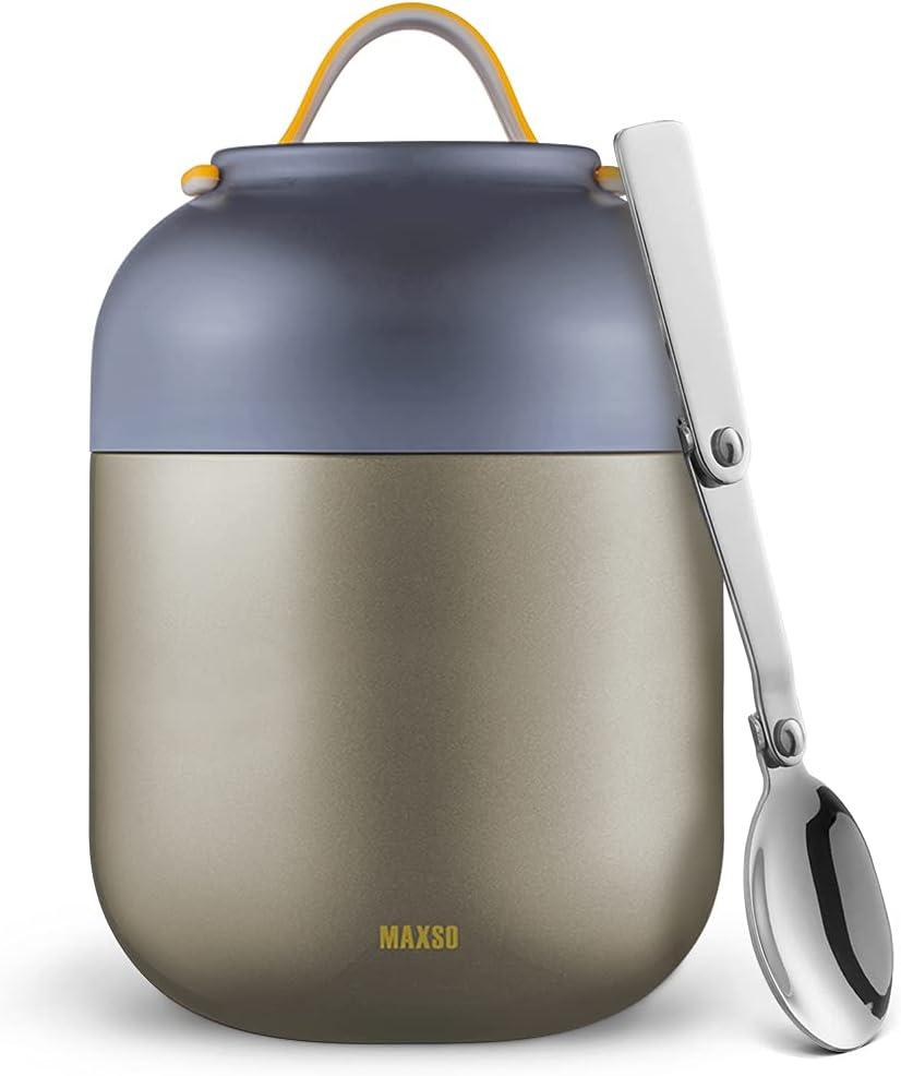Termo Para Comida 700ml Logeeyar - Termo de sopa con aislamiento al vacío de acero inoxidable con cuchara plegable (gris)