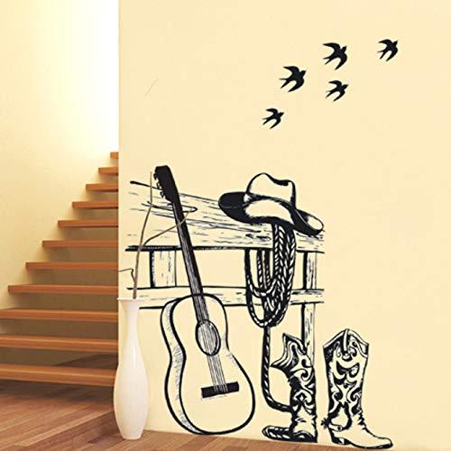 miaoqiushiyi Postmoderne Gitarre Ritter Wandaufkleber Tier Vögel Coffee Shop Musik Klassenzimmer Abziehbilder Wanddekor Poster