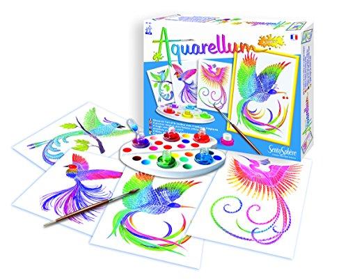 Sentosphere 3900060 Aquarellum Junior, Malset für Kinder, Motiv Paradiesvögel, Bastelset, Kreativ-Set, DIY