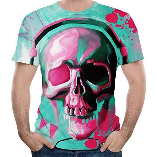 La Camiseta de los Hombres, la Blusa Superior de la Comodidad de la Moda de Las Mangas Cortas Impresas 3D del Verano de los Hombres,Camiseta de Cuello Redondo impresión Digital 3D - B5 Color 4XL