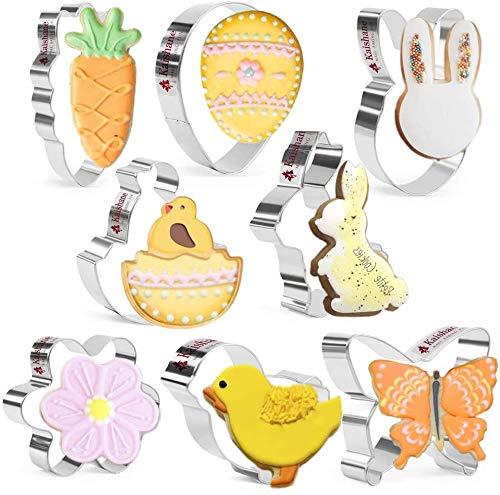 Crethink Easter Cookie Cutter Set - Schmetterling, Ei, Kaninchengesicht, Hase, Küken, Blume, Küken aus der Schale, Karottenformen Keksausstecher 8 Stück Edelstahl