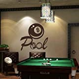 Diggoo Billiards Wall Decal Vinyl Art Sticker Pool Wall Decal Playroom Wall Art Quote(Black,xs)