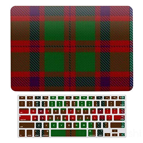 MacBook New Pro 13 Touch Case A1706、A1989、 A2159, Hard Shell & Keyboard Case Cover For Apple Mac New Pro 13 Touch, Scottish Clan Shaw Red Green Tartan Laptop Protective Shell Set