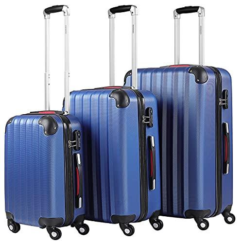 Monzana Valigie Set di 3 pezzi m l xl trolley valigie rigide leggere lucchetto bagaglio a mano viaggio blu
