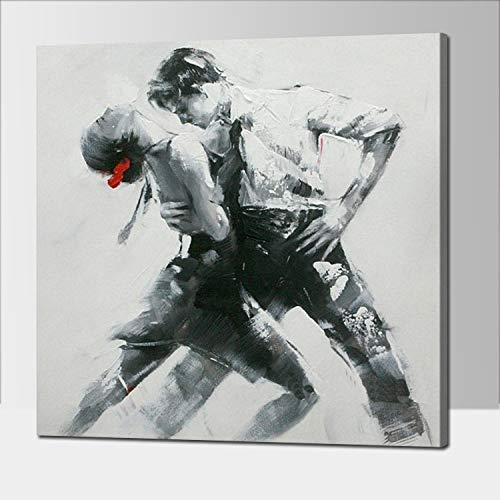 wZUN Decoración para el hogar Hombre y Mujer Bailarina Cuadro de Arte de Pared Hecho por Pintura al óleo sobre Lienzo 60x60 Sin Marco