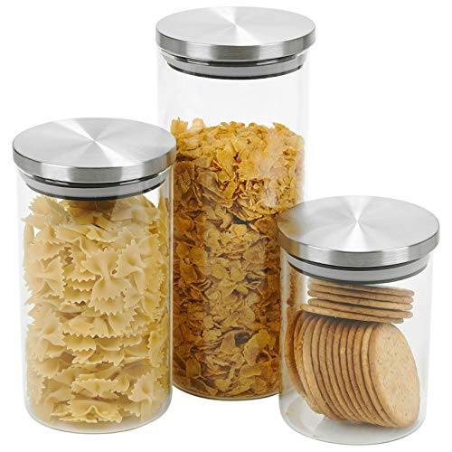 3 Piece Air Tight Preserve Glass Jars Food Snacks Biscuits Kitchen Storage Containers with Metal Lids Dishwasher Safe - Set Includes 650ml / 950ml / 1400ml Jars