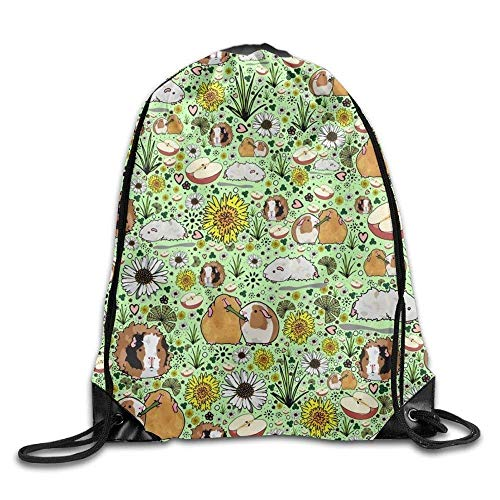 Yuanmeiju Guinea Pig Cartoon Girls Drawstring Backpack Large Capacity String Bags Hiking