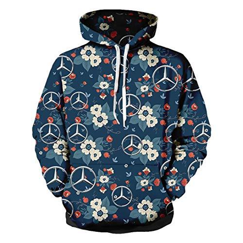 Cronell Story Unisex Spring Langarm Hoodie 3D Digital International Mercedes Benz Logo Print Sweatshirt Lässiges Sweatshirt (1,XL)