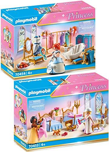 PLAYMOBIL Princess 70453 70454 - Juego de cama y vestidor con bañera