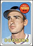 1969 Topps # 47 B Paul Popovich Los Angeles Dodgers (Baseball Card) (Black Blob on Top Right Side of Helmet is Rough, but tip of the 'C' on the Helmet is NOT visable) EX/MT Dodgers