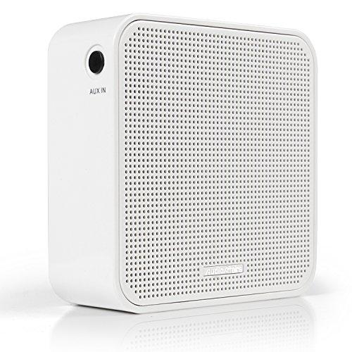 AudioAffairs PR 002 Steckdosenradio, Plug-in Radio mit Bluetooth Lautsprecher, Integrierter Akku, AUX IN Anschluss, Freisprecheinrichtung, UKW FM PLL Tuner fürs Badezimmer, Senderspeicher, Weiß