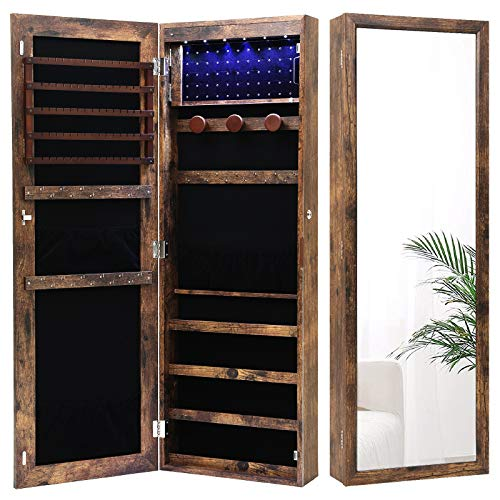 Nicetree 6 LEDs Jewelry Armoire Organizer WallDoor Mounted Jewelry Cabinet with Full Length Mirror Larger Capacity Dressing Mirror Rustic Brown