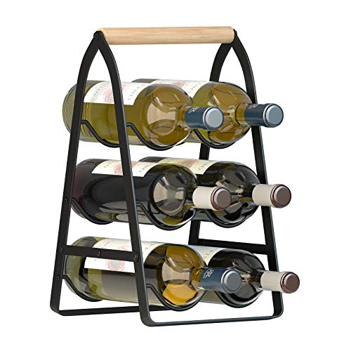 Mecor Countertop Wine Rack, Tabletop Wood Wine Holder for 6 Bottle, 3-Tier Classic Design, Perfect for Home Decor, Bar, Wine Cellar, Basement, Cabinet, Pantry-Set of 1, Wood & Metal, Wood & Iron